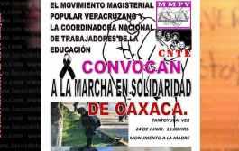 MMPV y CNTE convocan a una marcha pacífica en Tantoyuca