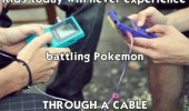 Kids playing the Game Boy game Pokemon. Kids today will never experience battling Pokemon through a cable.