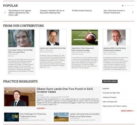 Law.com Screenshot Homepage II