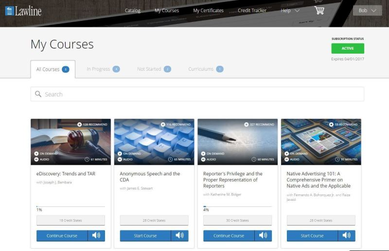Logging in takes you to a page showing all your courses.