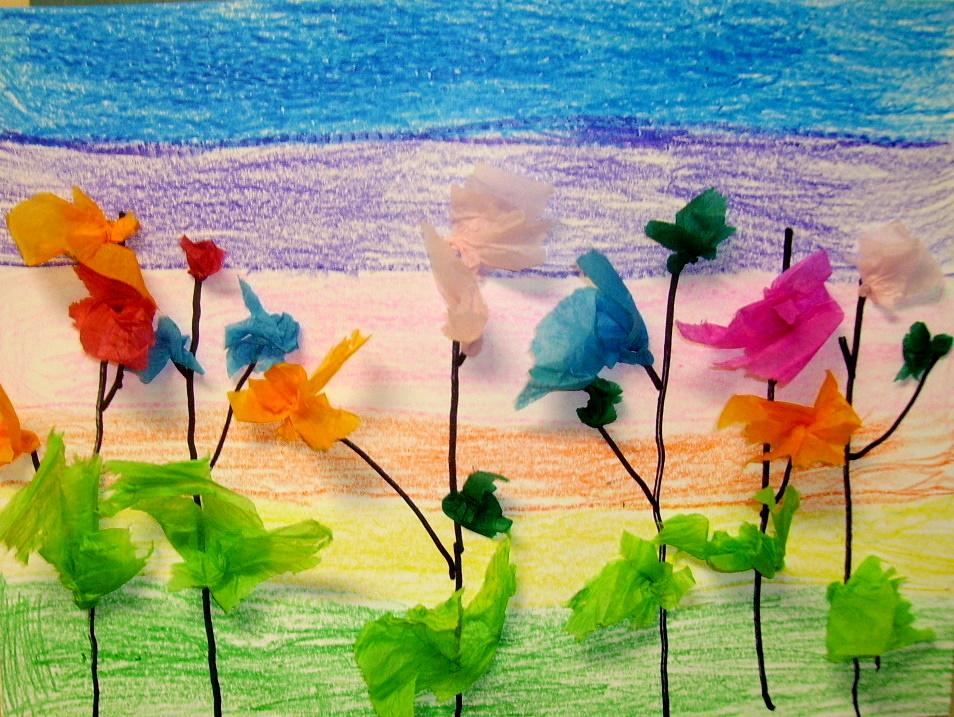 Tissue Flower Collage Kids Amp Glitter