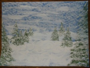 snowman-cover with white chalk