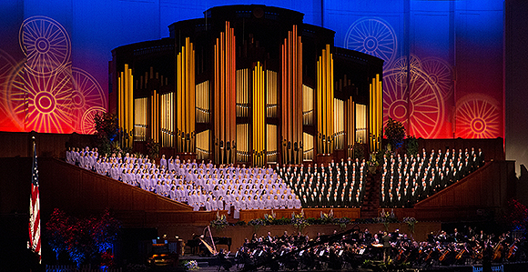 2018 Mormon Tabernacle Choir and Orchestra at Temple Square Pioneer     The Mormon Tabernacle Choir performs at the Conference Center in Salt Lake  City on Friday  July 14  2017  A Pioneer Day concert on Friday and  Saturday