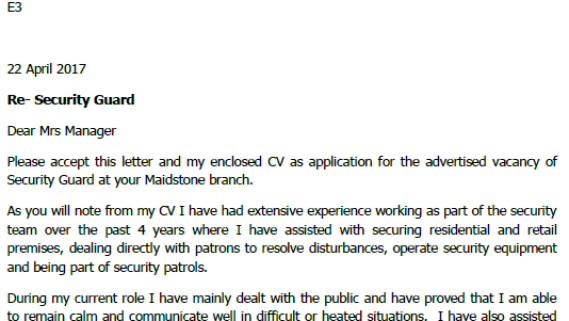 Cover letter examples for security jobs