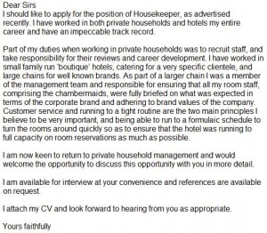 housekeeper cover letter example