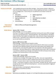 office manager cv example