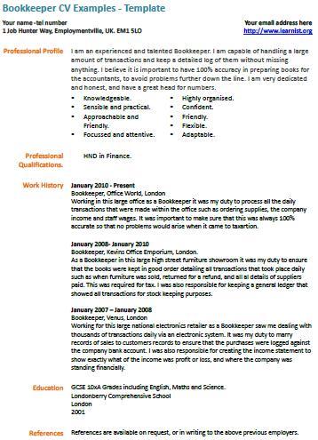 Bookkeeper Resume » Resume