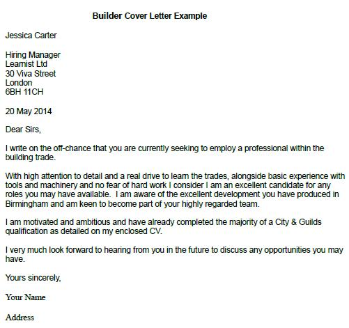 What To Write In Cover Letter With No Experience: Builder Cover Letter Example