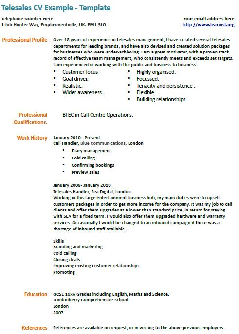 Telesales Cv Example Learnist Org