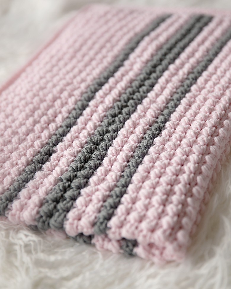 Bobbles And Stripes Crochet Baby Blanket Pattern Leelee