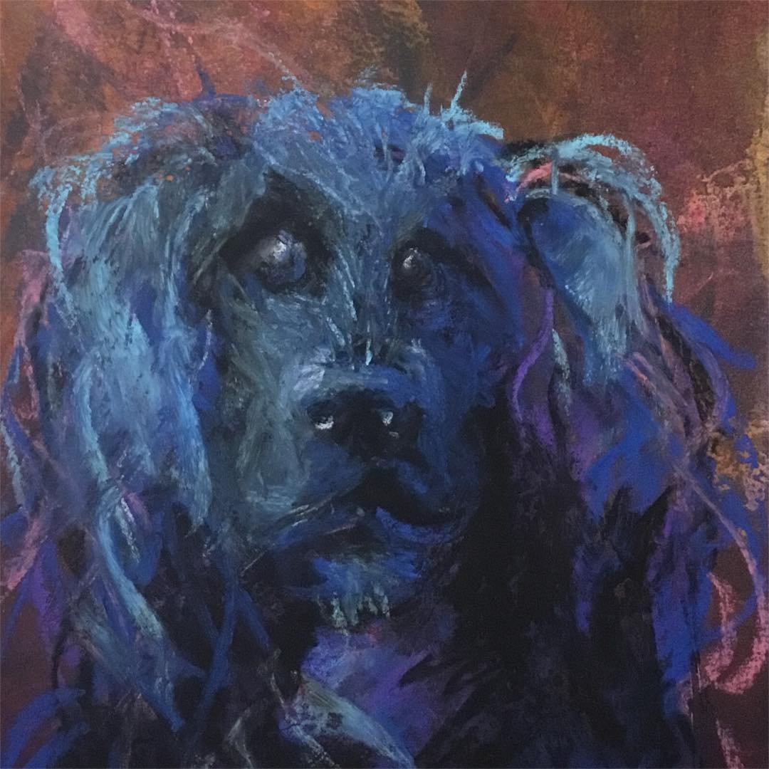 Original portrait of Molly the dog in watercolor and blue chalk pastel