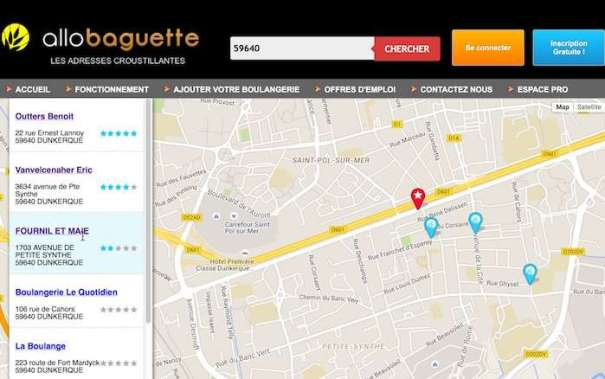 Allo Baguette website for online bread orders