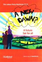"Labour's manifesto with ""a new dawn?"" written on it"