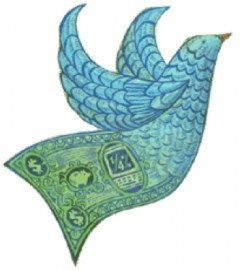 Peace dove clothed in feathers resembling the design on a dollar bill