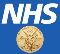 A London Olympics Gold medal against the background of the NHS logo