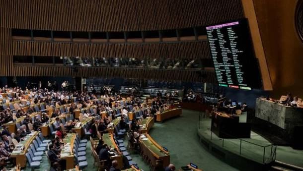 Delegations vote, to condemn Israeli actions in Gaza, in the General Assembly June 13, 2018 in New York. The UN General Assembly adopted by a strong majority of 120 countries an Arab-backed resolution condemning Israel for Palestinian deaths in Gaza and rejected a US bid to put the blame on Hamas. / AFP PHOTO / Don EMMERT
