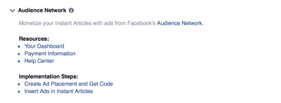 Facebook Audience Network accepted ToS
