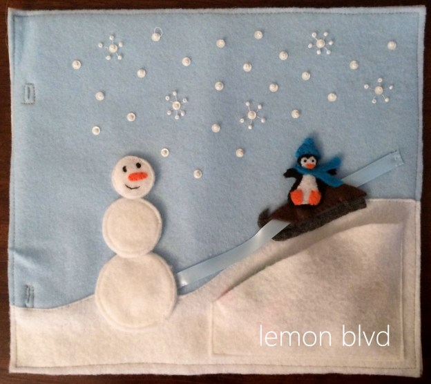 Quiet Book Page - Winter Fun - Snowman and penguin sledding