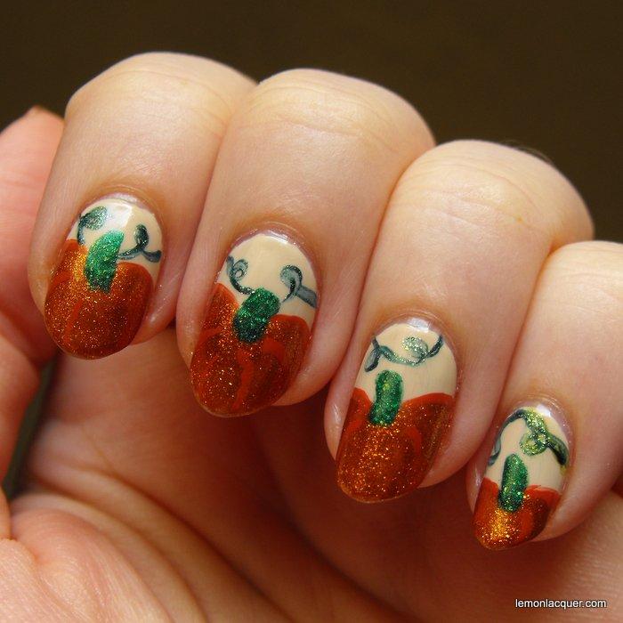 Nail art october pumpkins lemon lacquer pumpkin nail art in shimmery orange prinsesfo Image collections