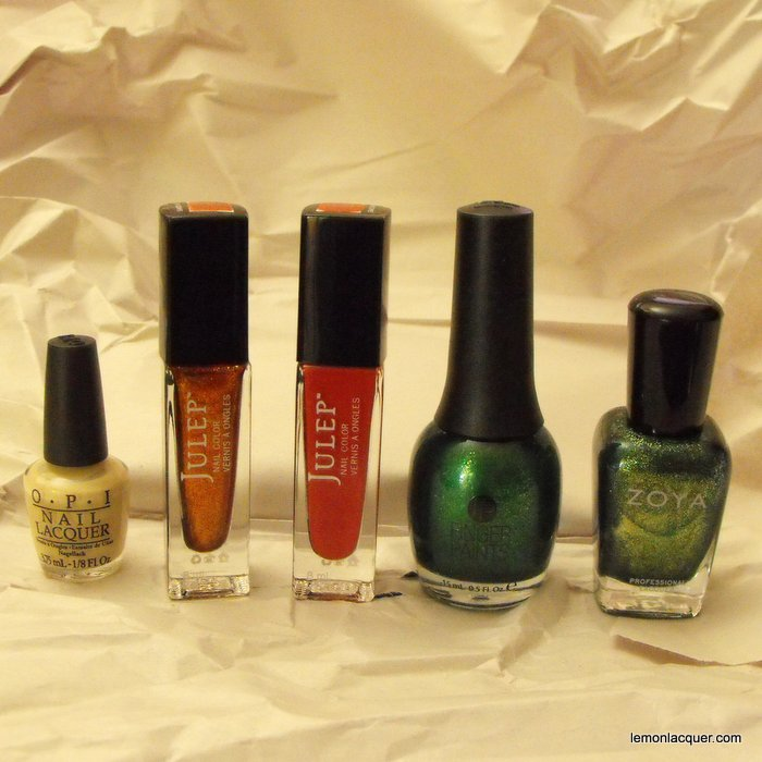 Five colours used for pumpkin nail art