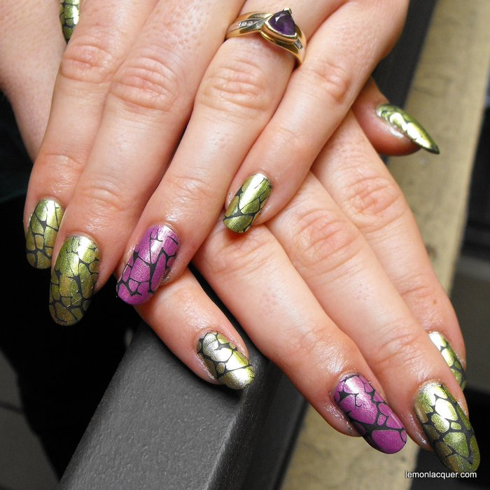 stamping with matte black over green and purple nails
