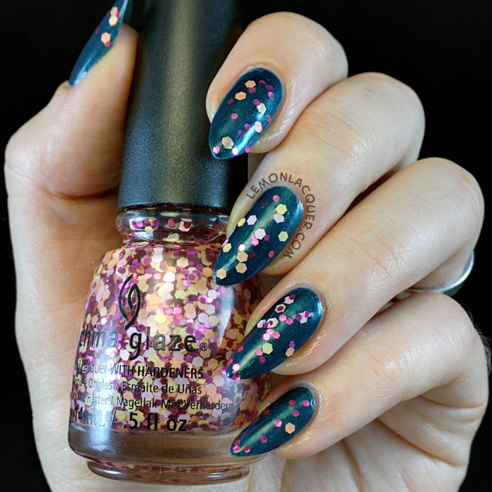 SinfulColors - Opening Night topped with China Glaze - Glimmer More