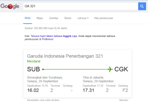 Cara mengecek penerbangan dengan Google