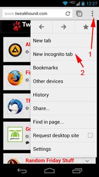 Incognito tab via tweakhound.com
