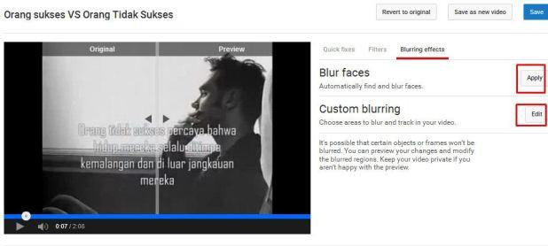 blur effect youtube