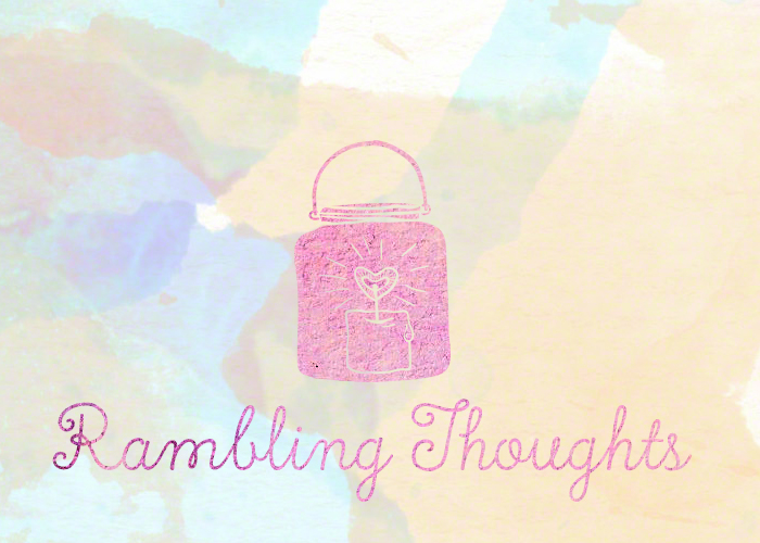 Thoughts. The text 'rambling thoughts' underneath a burning lantern. For rambles, thoughts, and not-essays.