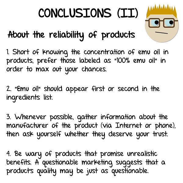 My conclusions on the reliability of emu oil products
