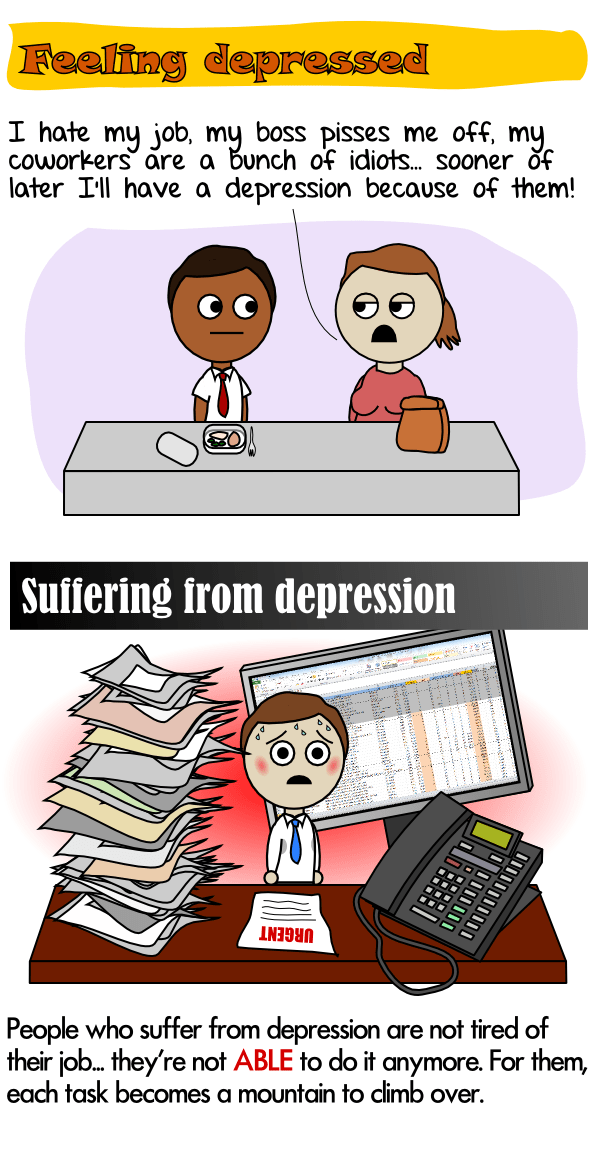 People who suffer from depression are not ABLE to do their job anymore
