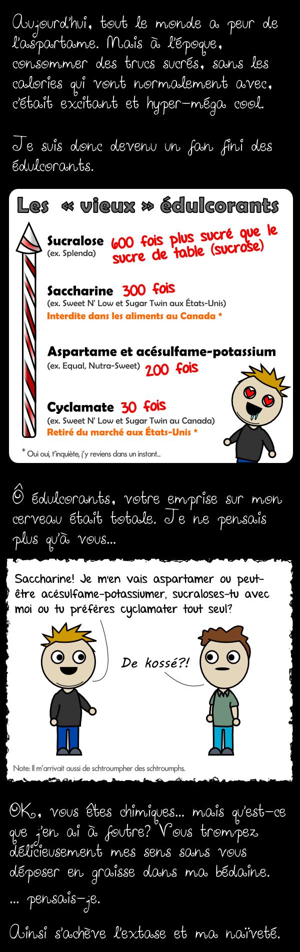 Les vieux édulcorants : aspartame , sucralose , cyalamate , saccharine , acésulfame-potassium