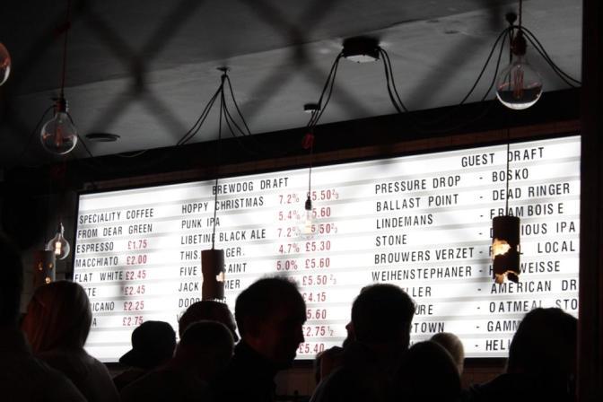 Le bar Brewdog de Soho à Londres