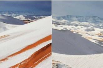 Phénomène rare: de la neige dans le désert algérien (photos)