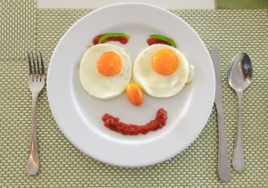 Happy Face Frying Eggs for food breakfast