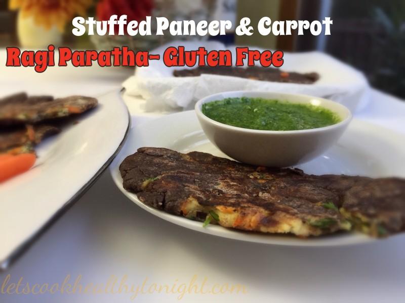 Stuffed Paneer and Carrot Ragi Paratha