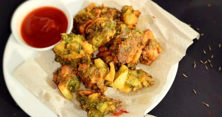 Kale Aloo Pakodas ( Fritters)