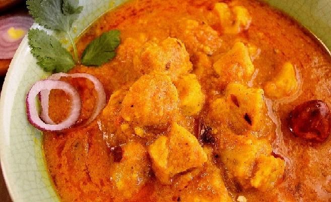 Gatte Ki Sabzi  Steamed Chickpea flour dumplings in gravy
