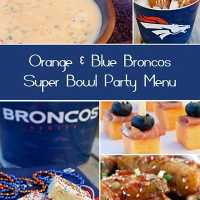 Orange and Blue Broncos Themed Superbowl Party Menu