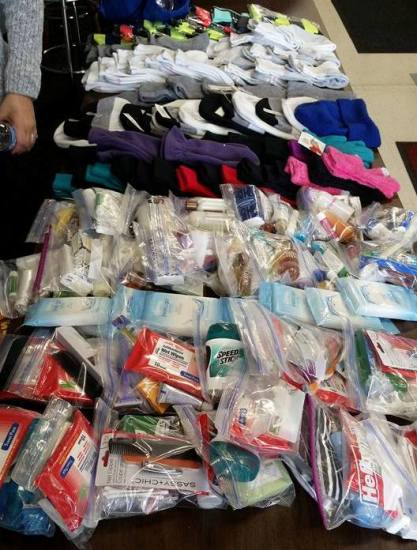 Hygiene kits and other donations for the homeless