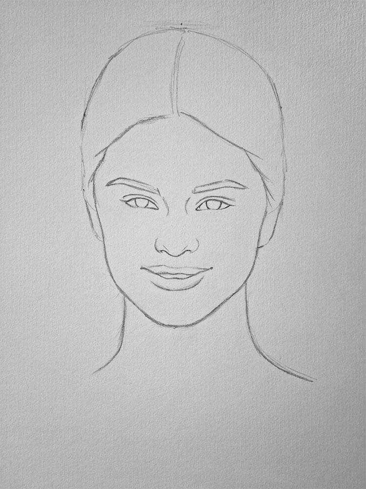 How to Draw Selena Gomez   Let s Draw People Step 5     Look closely at the picture and try to draw  lightly pressing on  the pencil  those spots that are the most light and shiny on the face