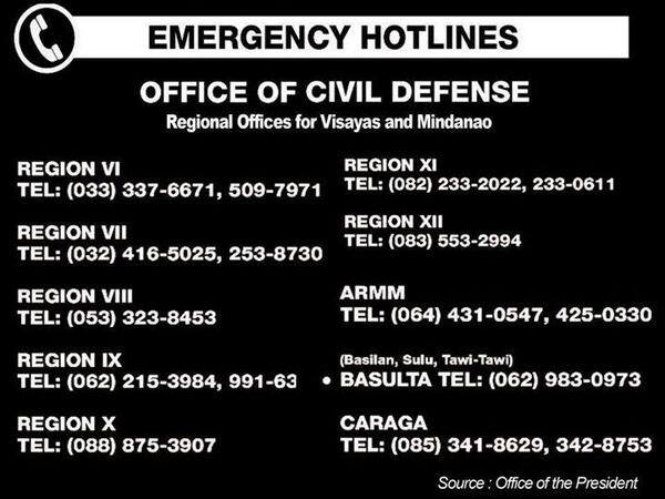 Visayas & Mindanao Emergency Hotlines: Office of Civil Defense regional offices from the Office of the President