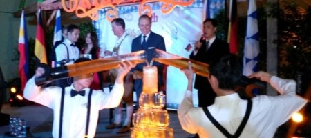 A ceremonial Beer Fountain highlighted the press briefing for the upcoming Oktoberfest 2013