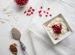 Coconut Greek Yogurt with Pomegranate Seeds