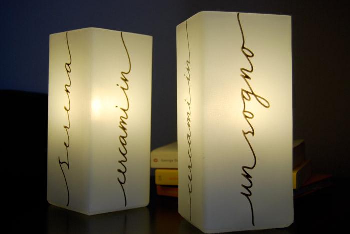 Lampade da comodino calligrafia letters love life for Lampade da comodino particolari