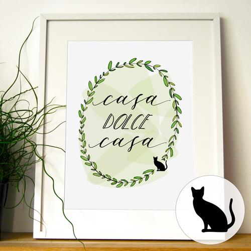 """Idee regalo per chi ama i gatti: poster """"Casa dolce casa"""""""