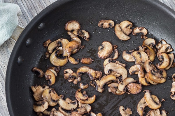 browned mushrooms for Baked Green Barley and Kale