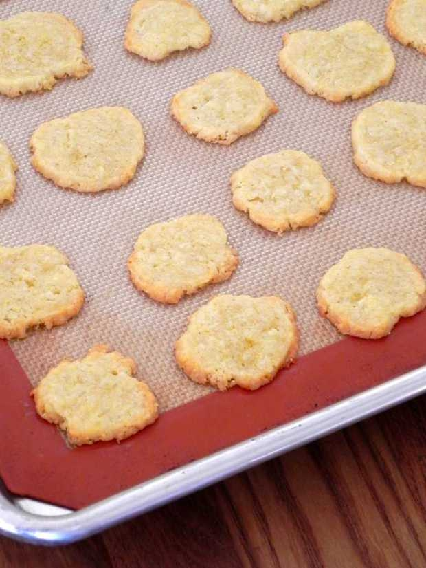 cornmeal Cheddar coins with golden edges