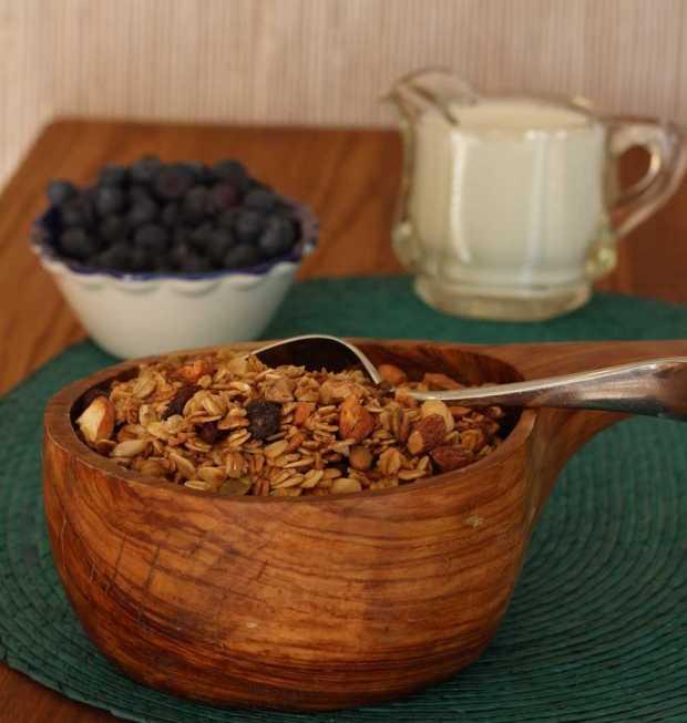 granola milk berries